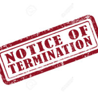 stamp notice of termination in red