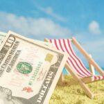 Dollar Geldscheine, Urlaun und Strand